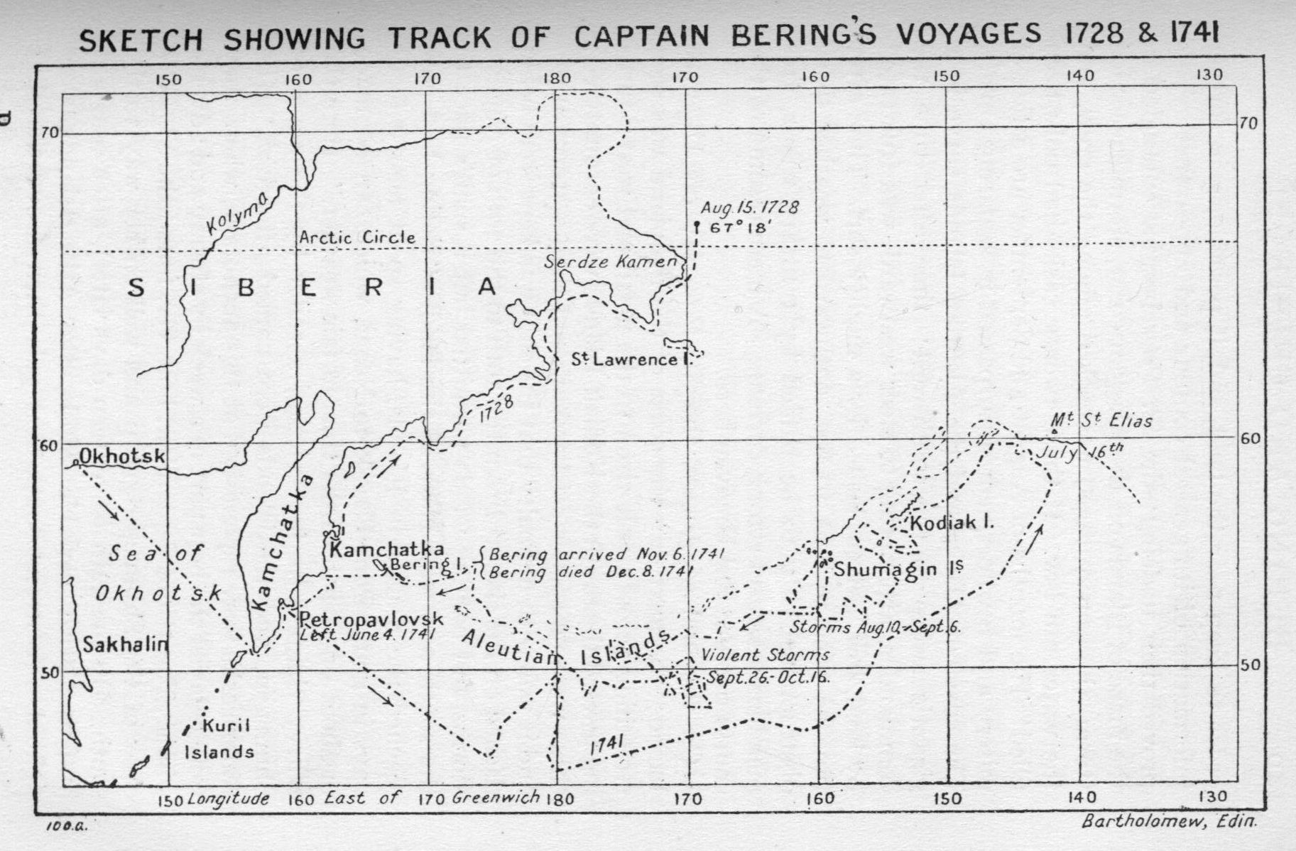 The Far West Coast By V L Denton Champion 171 Bass Boat Wiring Diagram Sketch Showing Track Of Captain Berings Voyages 1728 1741