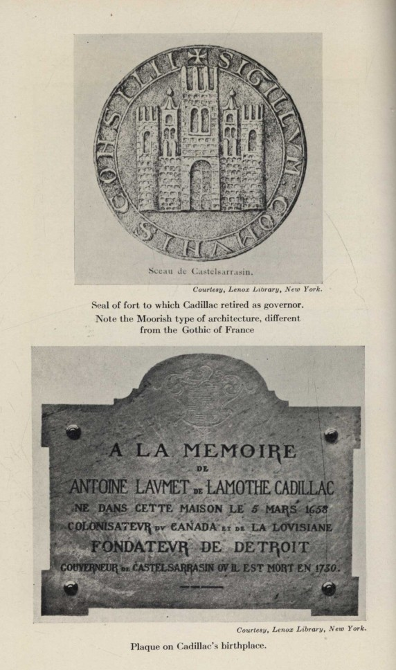 Seal of fort to which Cadillac retired as governor. Note the Moorish type  of architecture 550e5492a